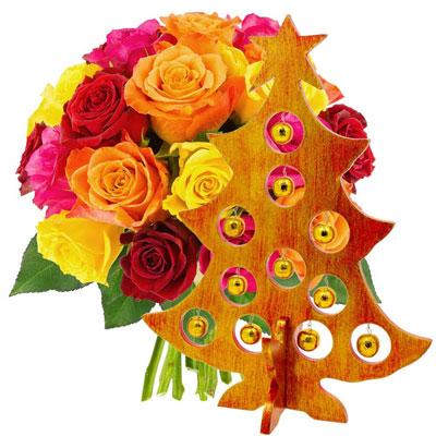 livraison de cadeau d co 20 roses multicolores sapin rouge et or par florajet livraison. Black Bedroom Furniture Sets. Home Design Ideas