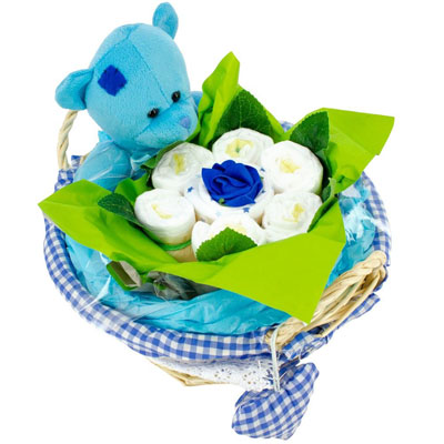 Livraison de fleurs panier de naissance bleu livraison for Livraison de fleurs demain