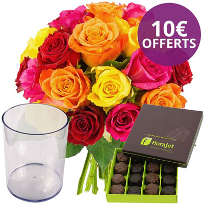 20 ROSES MULTICOLORES + VASE + ROCHERS