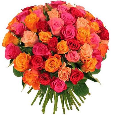 Livraison du bouquet de roses 80 roses variees par for Livraison rose
