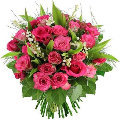 Livraison du bouquet de fleurs 20 roses roses muguet par for Bouquet de fleurs muguet