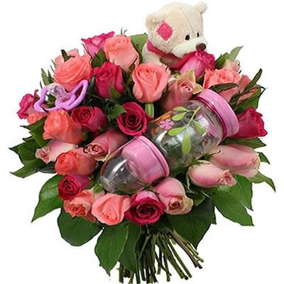 livraison du bouquet de roses doudou fille coeur chocolat par florajet livraison france. Black Bedroom Furniture Sets. Home Design Ideas