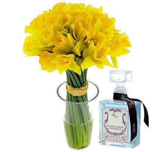livraison de fleurs 15 jonquilles eau lavande 200ml livraison france express. Black Bedroom Furniture Sets. Home Design Ideas