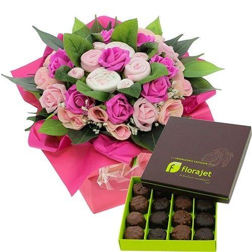 livraison de fleurs bouquet naissance rose rochers au praline livraison france express. Black Bedroom Furniture Sets. Home Design Ideas