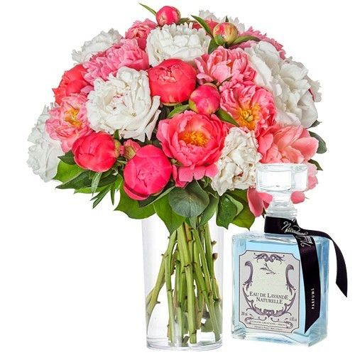 livraison de fleurs 30 pivoines eau lavande 200ml livraison france express. Black Bedroom Furniture Sets. Home Design Ideas
