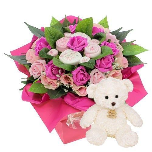 livraison de fleurs bouquet naissance rose ourson blanc livraison france express. Black Bedroom Furniture Sets. Home Design Ideas