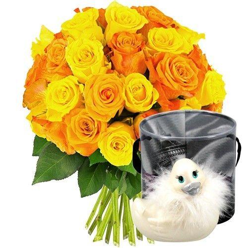 livraison de fleurs 30 roses jaunes et orange canard vibrant livraison france express. Black Bedroom Furniture Sets. Home Design Ideas