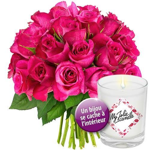 livraison de fleurs 30 roses fuchsia bougie bijou livraison france express. Black Bedroom Furniture Sets. Home Design Ideas