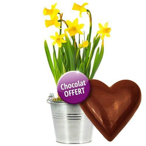 livraison de cadeau gourmand pot de narcisses coeur en chocolat par florajet livraison. Black Bedroom Furniture Sets. Home Design Ideas