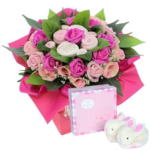 Livraison de fleurs bouquet naissance rose coffret de for Livraison rose