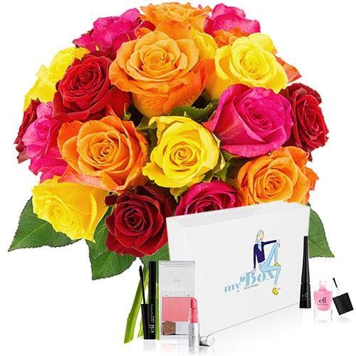livraison de fleurs 20 roses multicolores coffret cosmetiques livraison france express. Black Bedroom Furniture Sets. Home Design Ideas