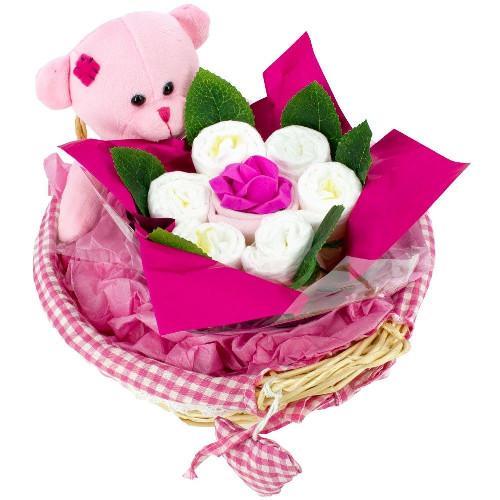 livraison de fleurs panier de naissance rose livraison france express. Black Bedroom Furniture Sets. Home Design Ideas