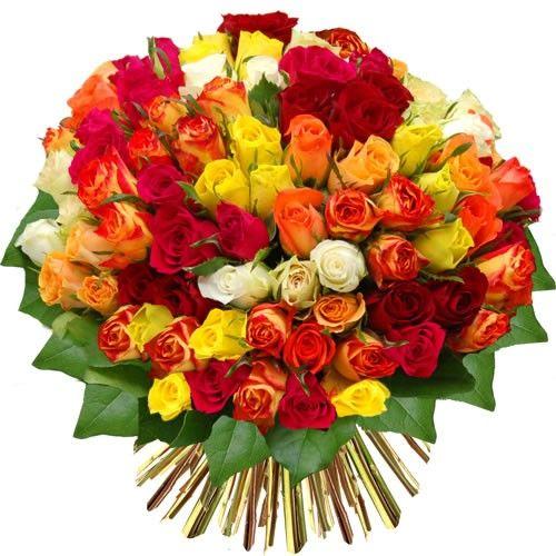 Livraison du bouquet de roses 80 roses multicolores par for Prix bouquet de fleurs
