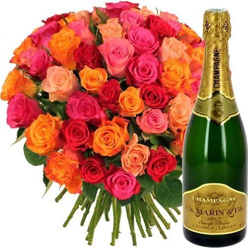livraison de cadeau gourmand 40 roses variees champagne par florajet livraison france. Black Bedroom Furniture Sets. Home Design Ideas
