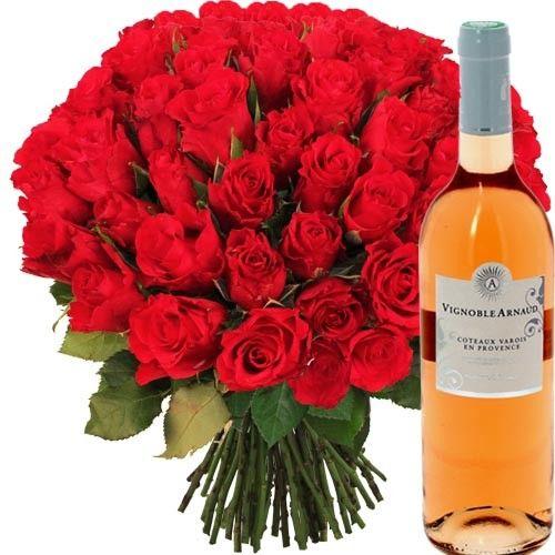 Bouquet de roses 50 roses rouges vin rose livraison for Livraison rose